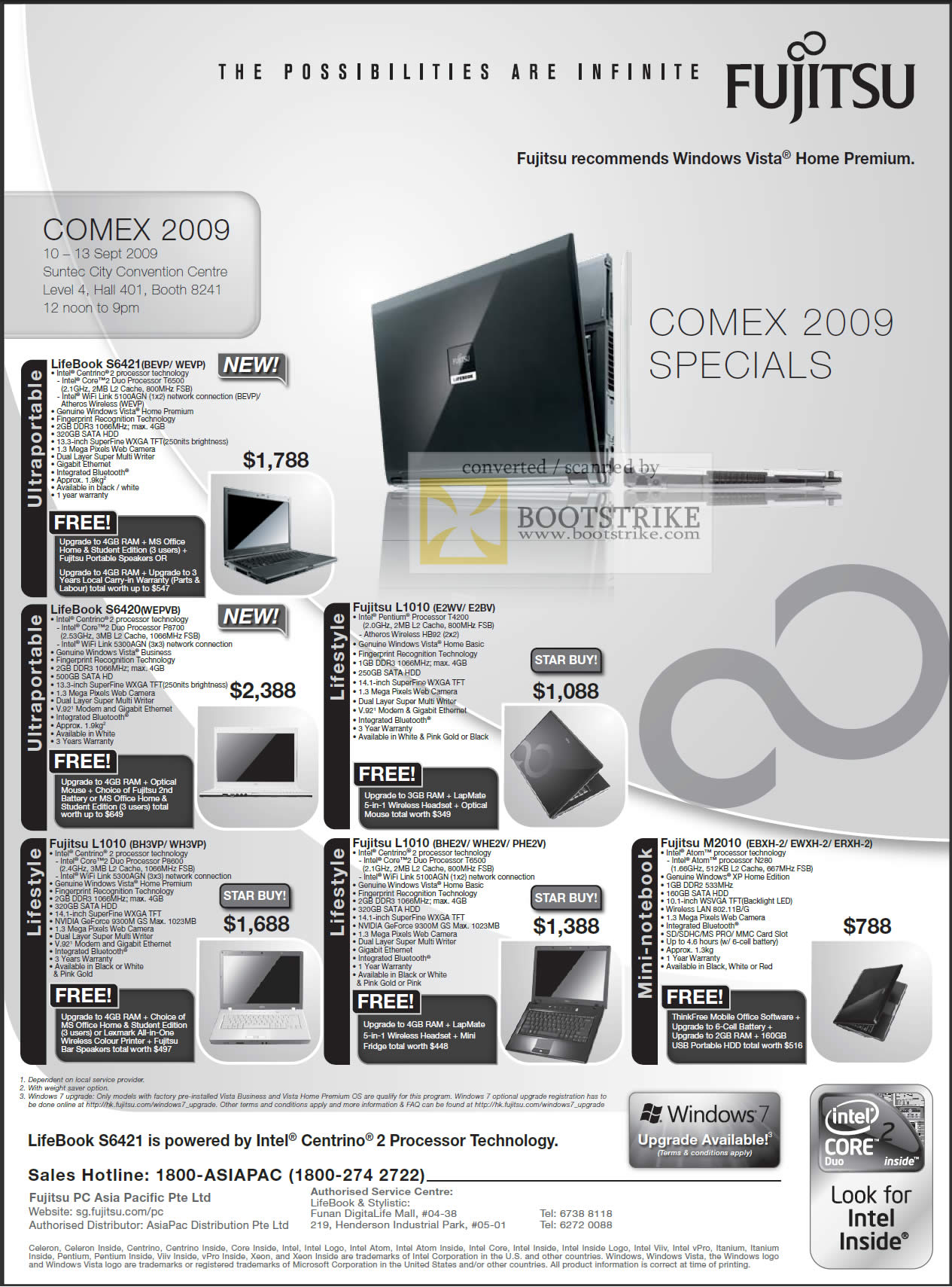 Comex 2009 price list image brochure of Fujitsu Notebooks LifeBook S6421 S6420 L1010 M2010 Lifestyle Ultraportable Mini