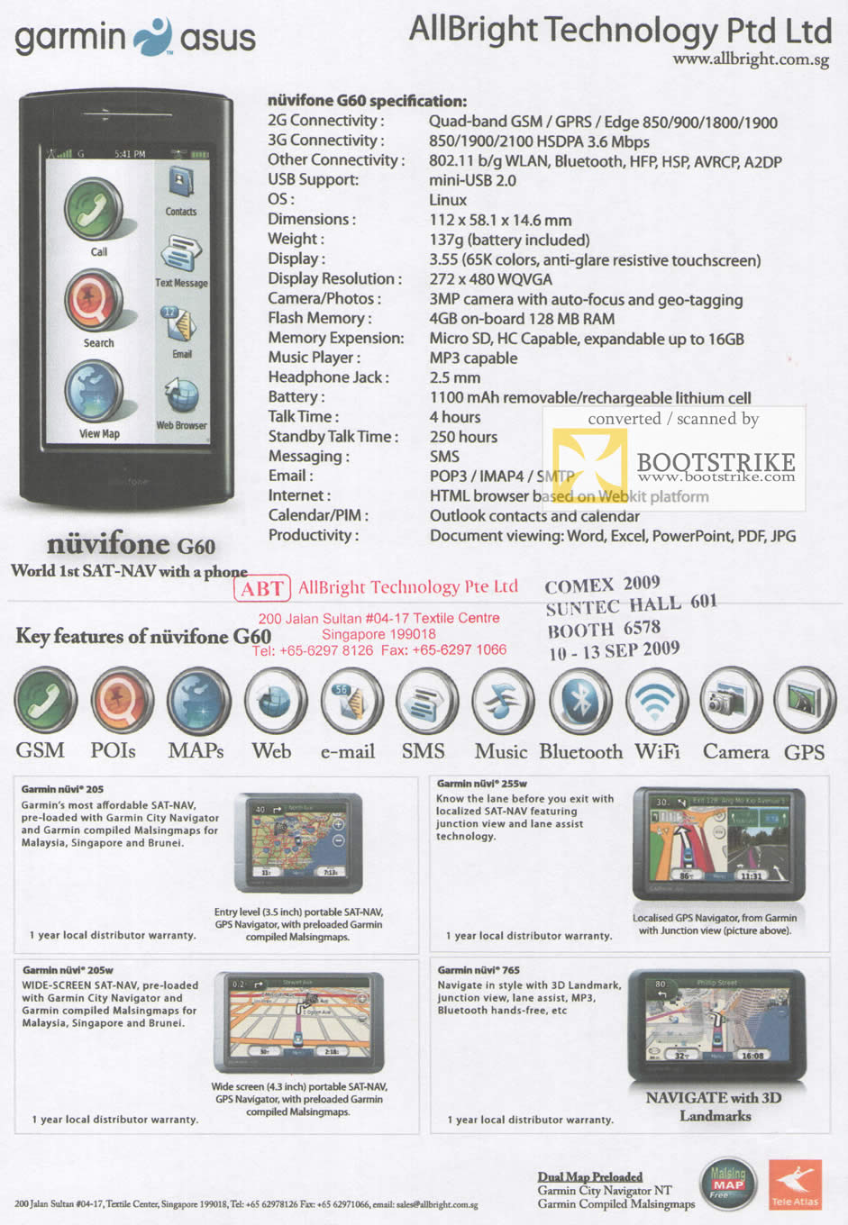 Comex 2009 price list image brochure of Garmin ASUS Nuvifone G60 205 205w 255w 765