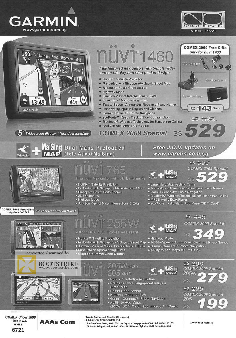 Comex 2009 price list image brochure of Garmin GPS Nuvi 1460 765 255W 205W 205 AAAs