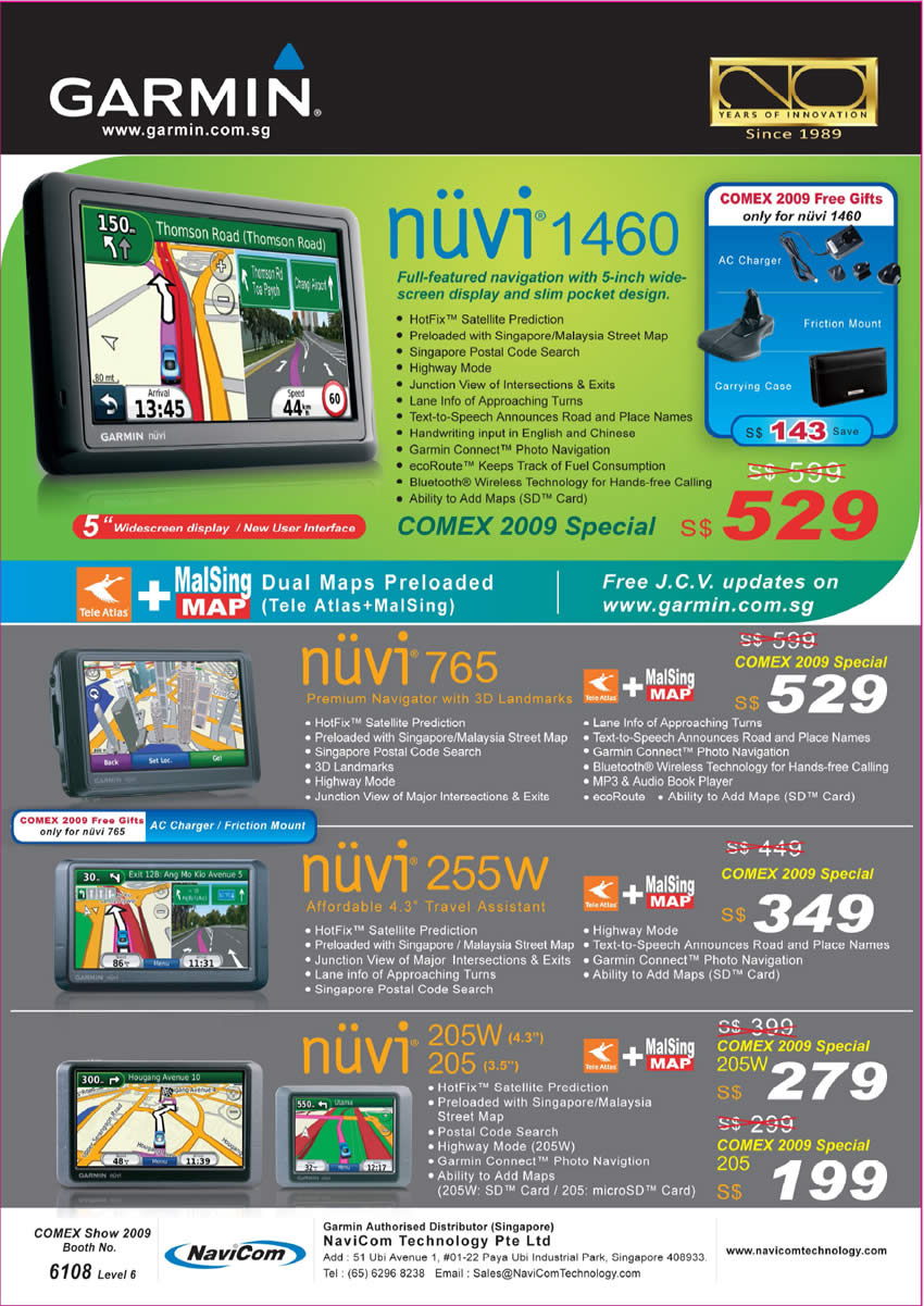 Comex 2009 price list image brochure of Garmin GPS Nuvi 1460 765 255W 205W 205 Navicom