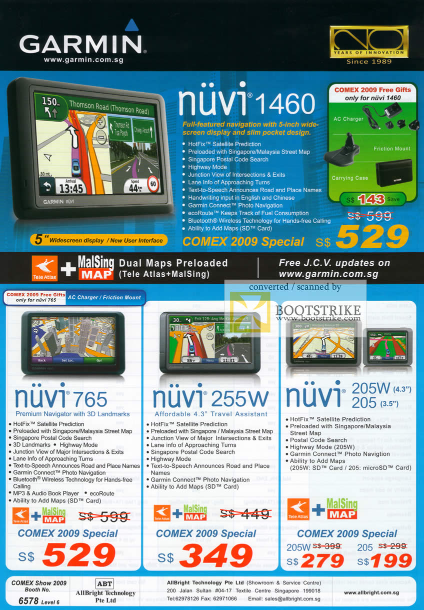 Comex 2009 price list image brochure of Garmin GPS Nuvi 1460 765 255w 205w 205