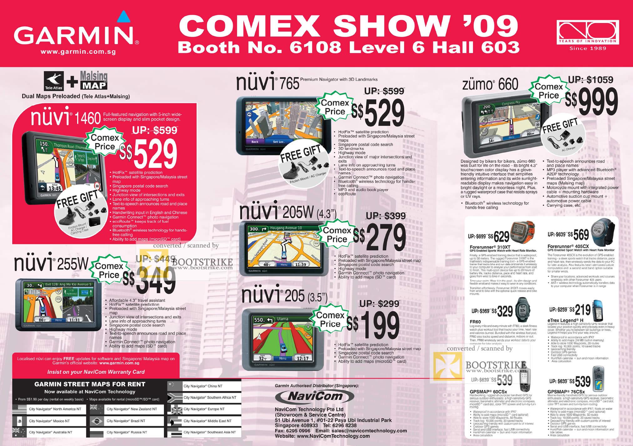 Comex 2009 price list image brochure of Garmin Nuvi 765 205W 205 1460 255w Zumo 660 GPS System Navicom