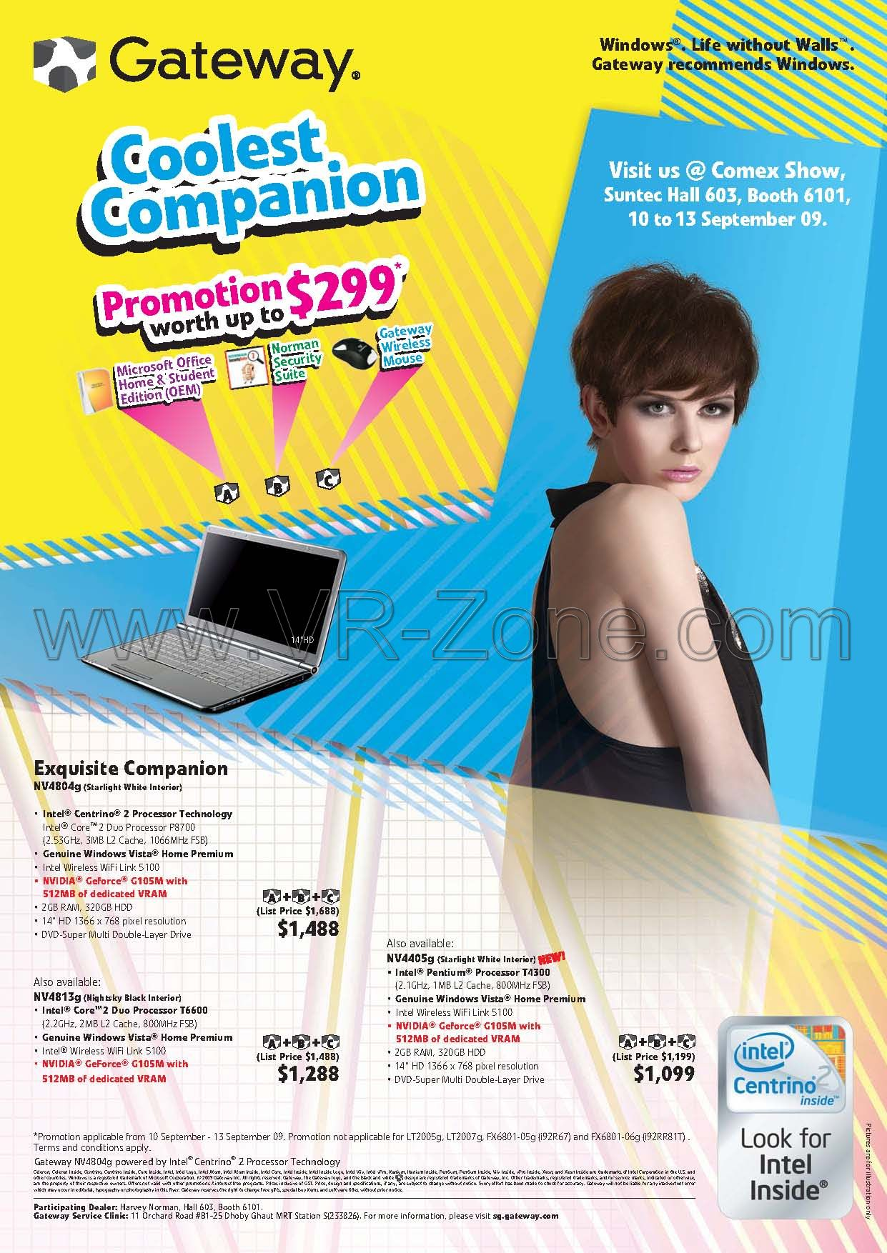 Comex 2009 price list image brochure of Gateway Notebooks NV4804g NV4813g NV4405g
