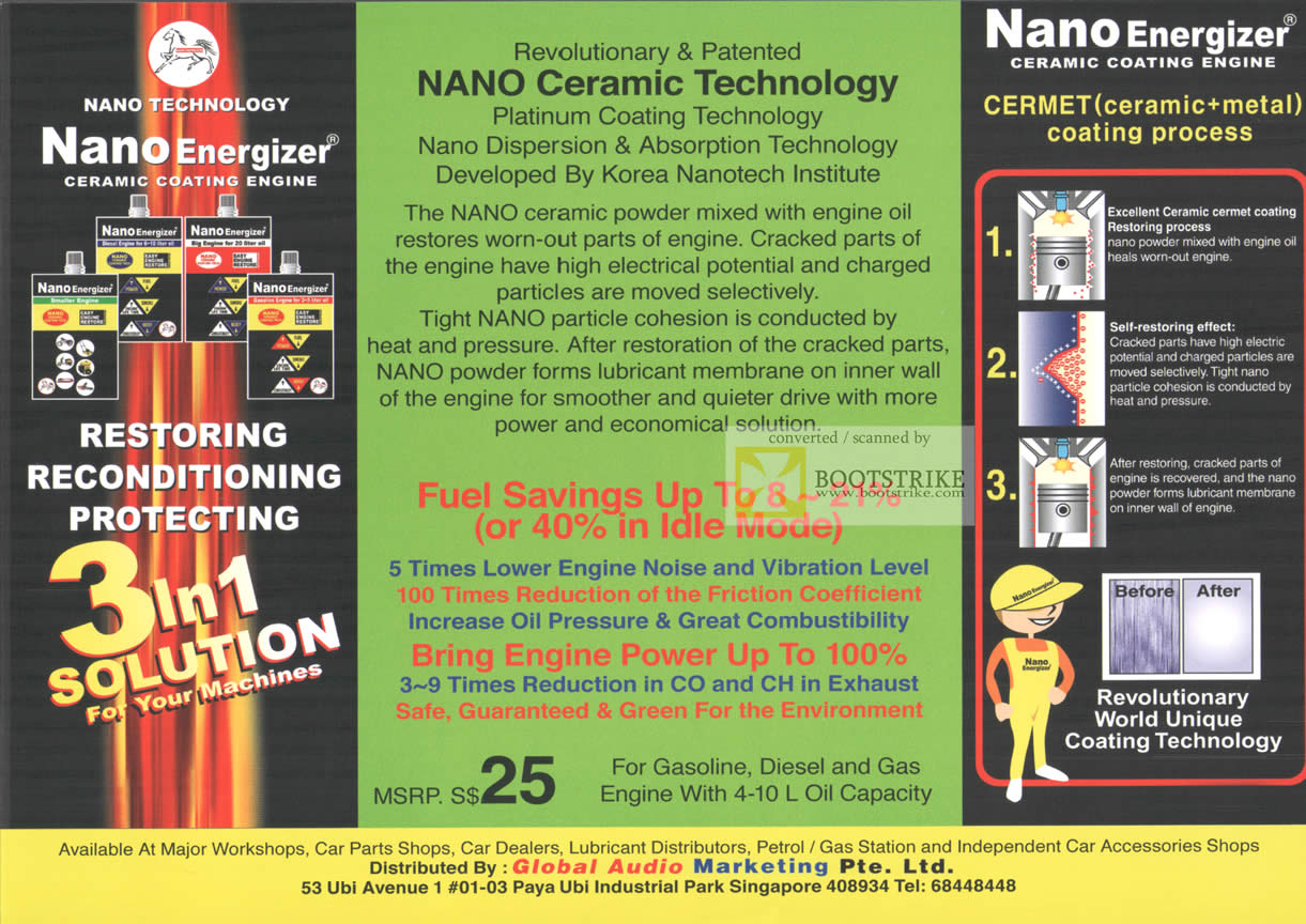 Comex 2009 price list image brochure of Global Audio Nano Energizer Ceramic Coating Engine