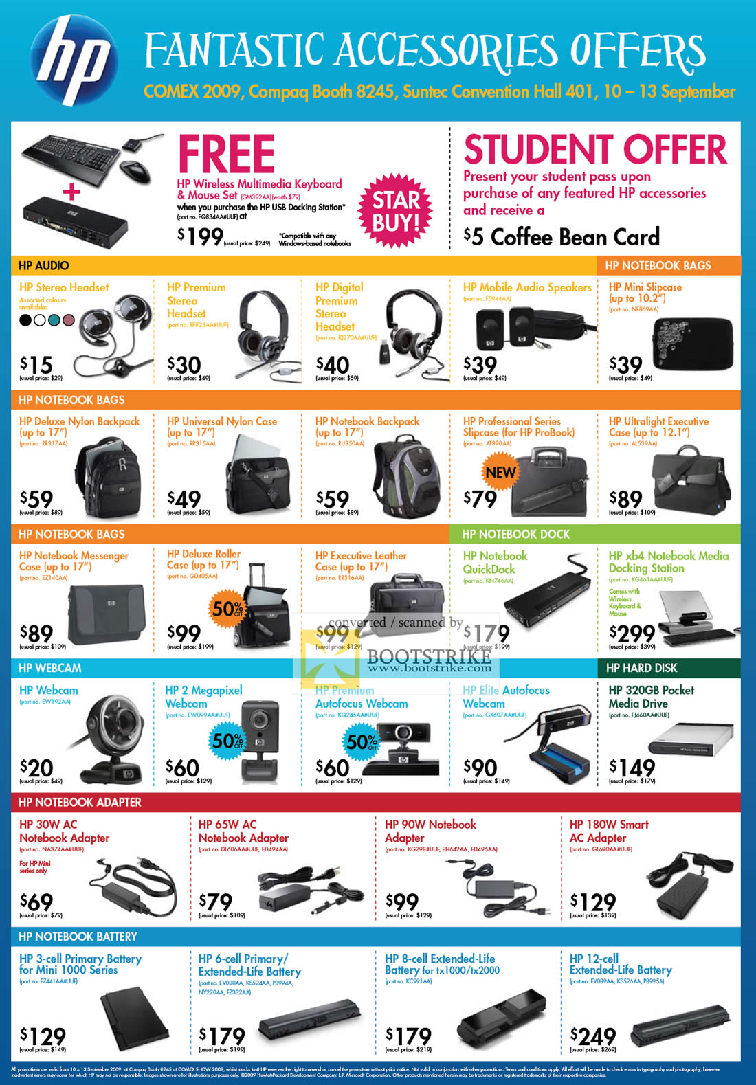 Comex 2009 price list image brochure of HP Accessories Audio Headset Speakers Bag Webcam Notebook Adapter Battery