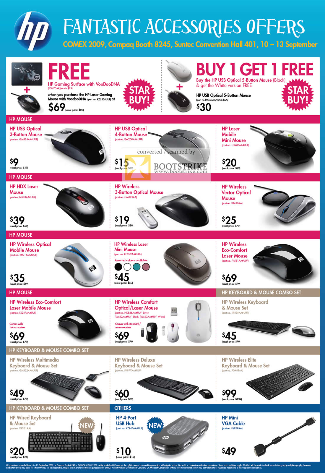 Comex 2009 price list image brochure of HP Accessories Mouse Keyboard USB Hub Mini VGA Cable