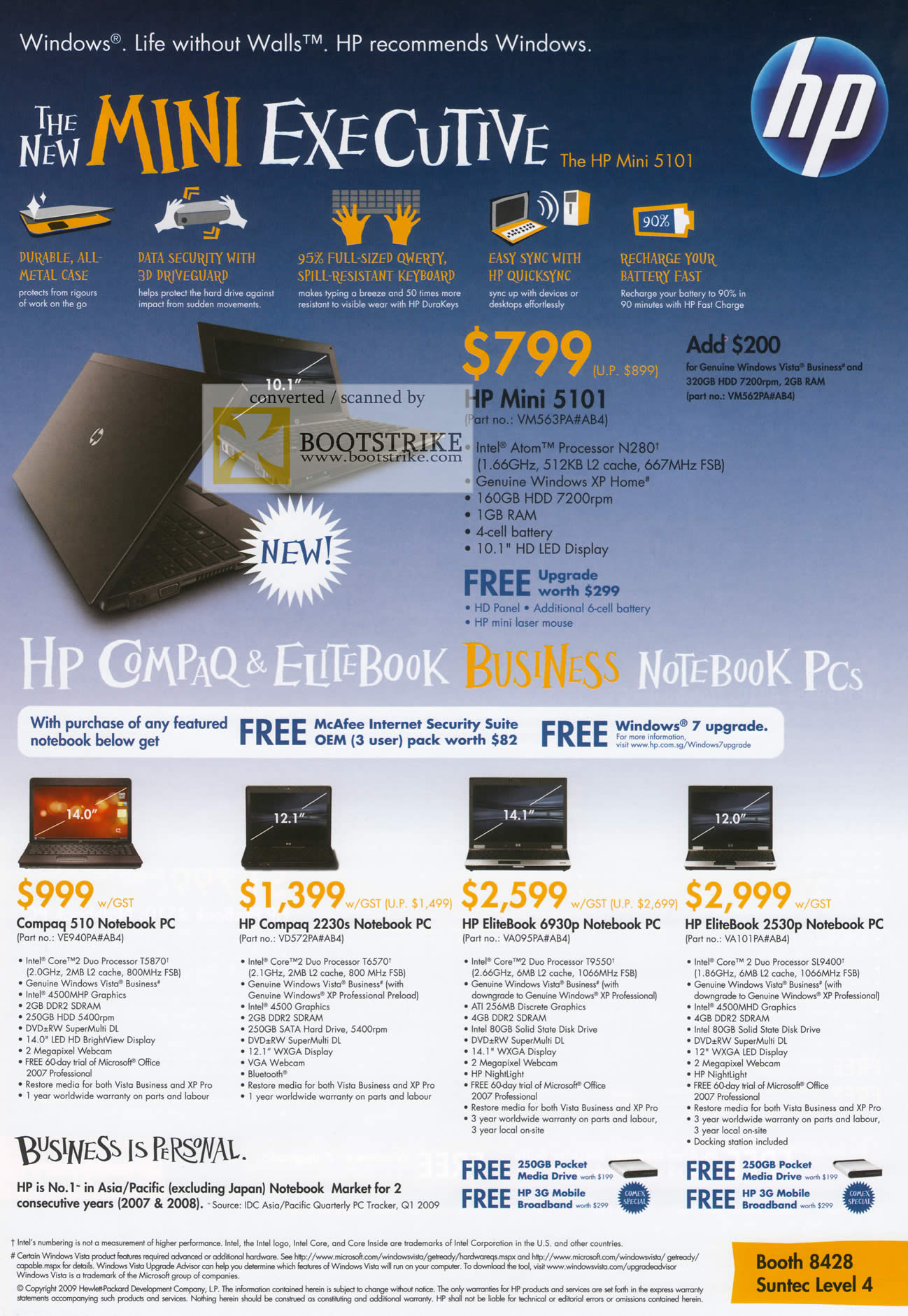 Comex 2009 price list image brochure of HP Compaq Notebook Elitebook Business Mini 5101 510 2230s 6930p 2530p