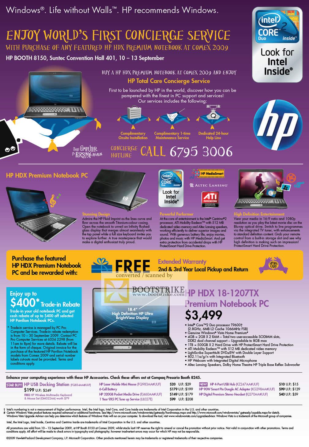 Comex 2009 price list image brochure of HP Concierge HDX 18-1207tx Premium Notebook PC