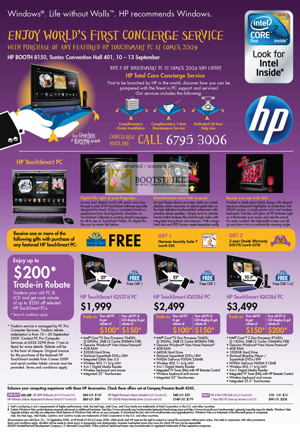 Comex 2009 price list image brochure of HP Concierge TouchSmart PC IQ527d IQ528d IQ828d
