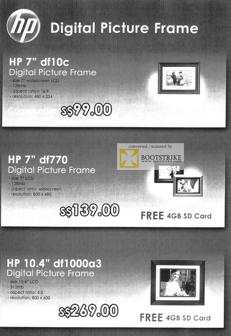 Comex 2009 price list image brochure of HP Digital Photo Frame Df10c Df770 Df1000a3 B6636
