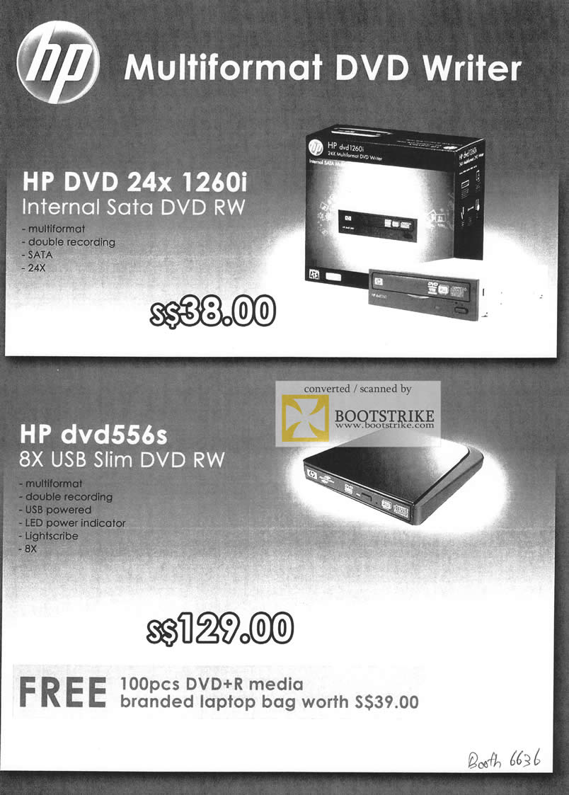 Comex 2009 price list image brochure of HP Multiformat DVD RW Writer Sata Internal External USB Slim
