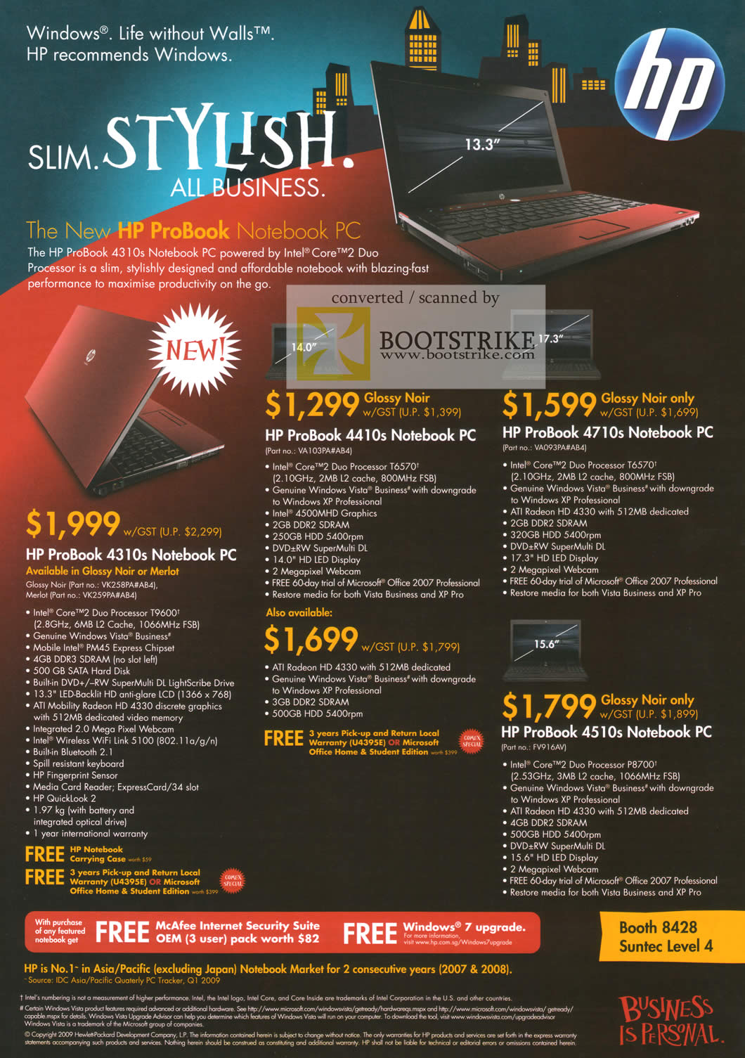 Comex 2009 price list image brochure of HP Notebook ProBook 4410s 4710s 4310s 4510s