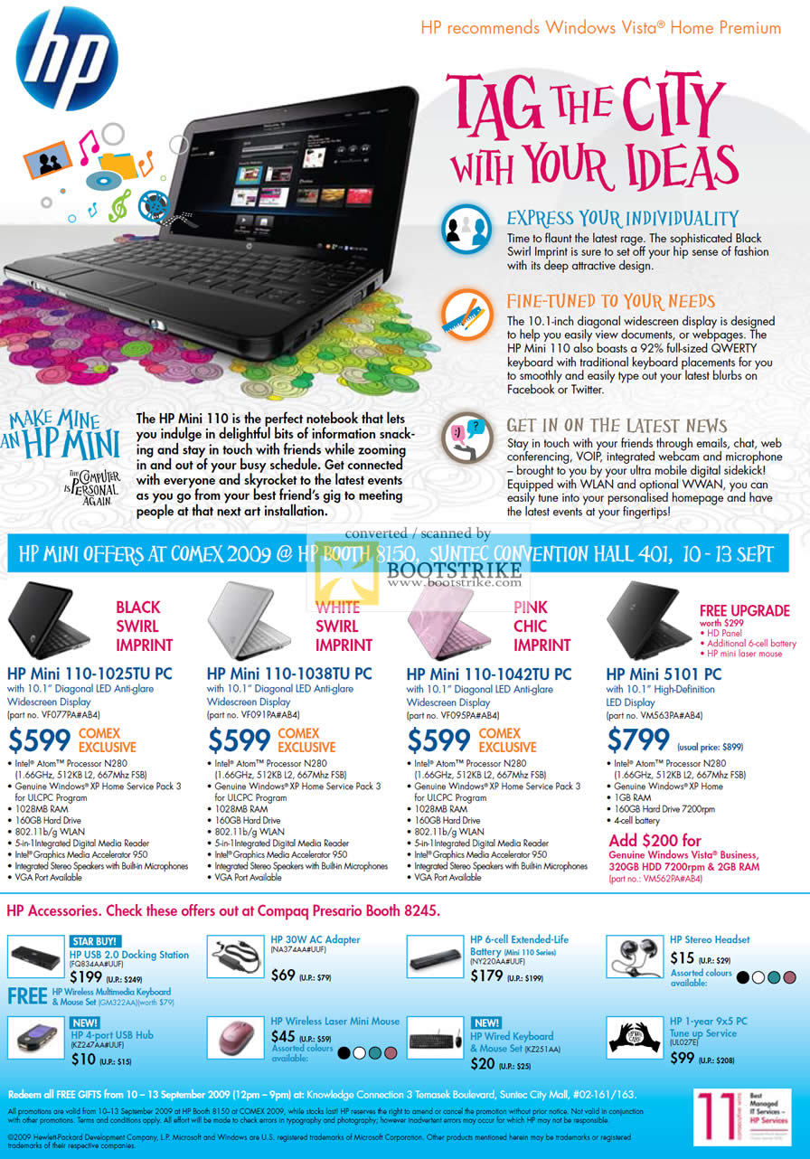 Comex 2009 price list image brochure of HP Notebooks Mini 110 5101 PC