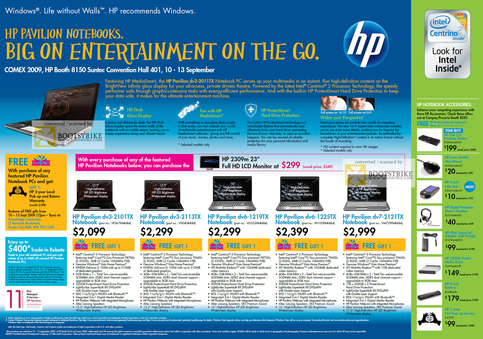 Comex 2009 price list image brochure of HP Pavilion Notebooks Dv3 2101tx 2113tx Dv6 1219tx 1225tx Dv7 2121tx
