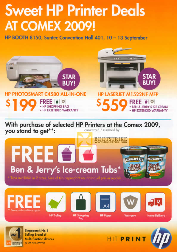 Comex 2009 price list image brochure of HP Printers Photosmart C4580 Laserjet M1522NF