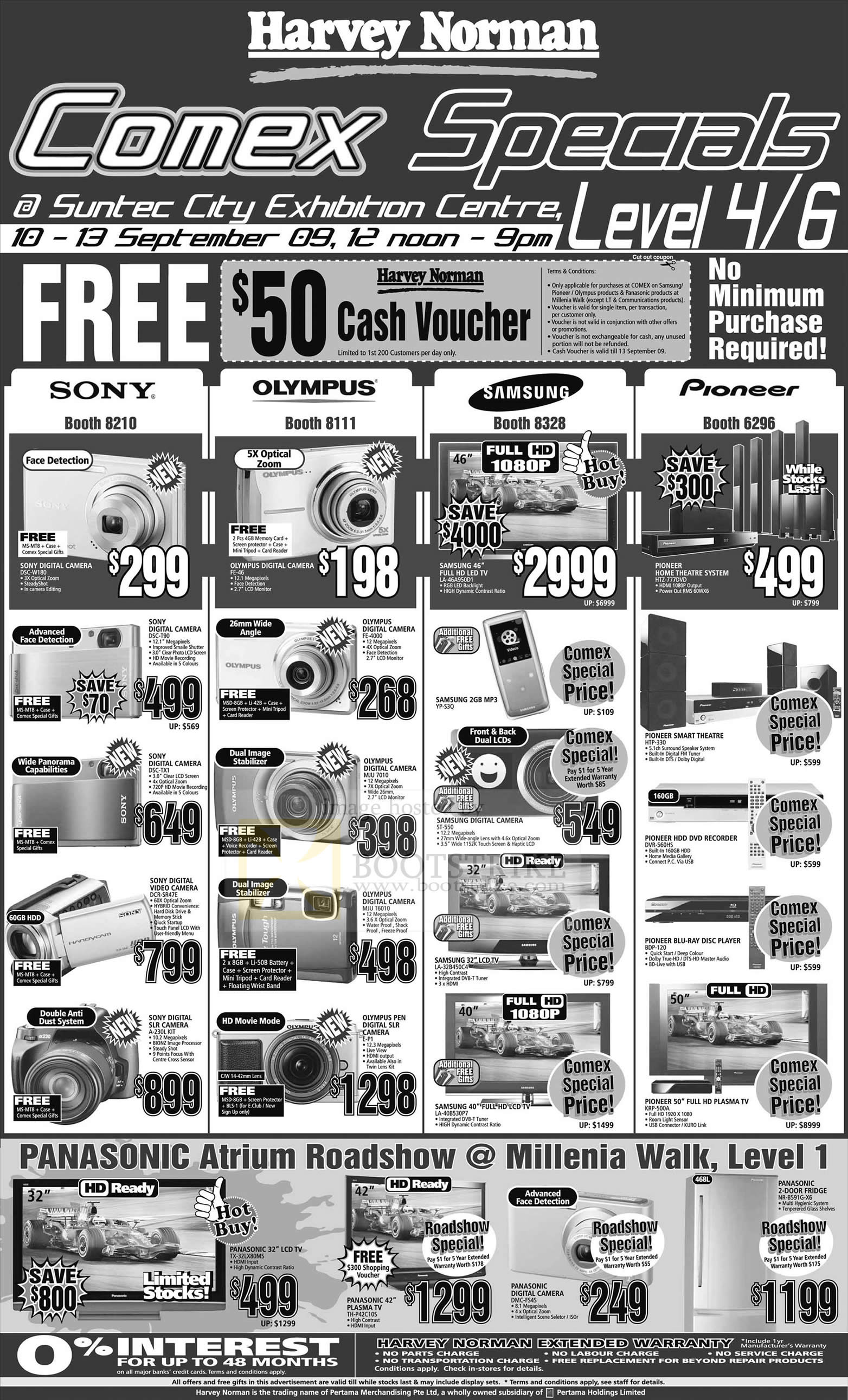 Comex 2009 price list image brochure of Harvey Norman Panasonic Sony Olympus Samsung Pioneer Camera TV