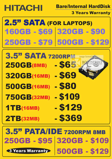 Comex 2009 price list image brochure of Hitachi Internet Harddisk Sata 7200rpm Pata Ide Laptops B6346
