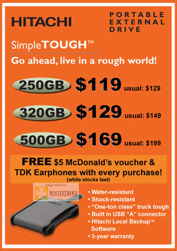 Comex 2009 price list image brochure of Hitachi SimpleTOUGH Portable External Drive