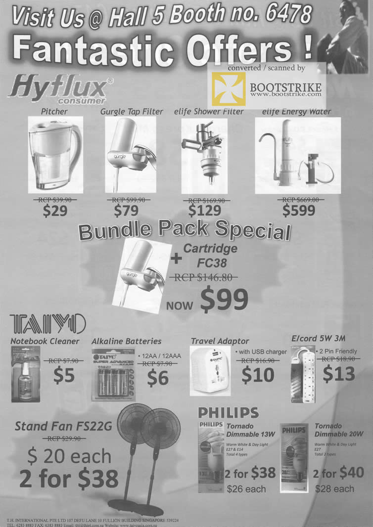 Comex 2009 price list image brochure of Hyflux Pitcher Tap Shower Filter Taiyo Notebook Cleaner Batteries Fan