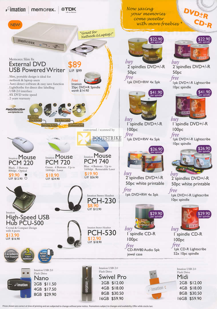 Comex 2009 price list image brochure of Imation Memorex TDK DVD Writer DVD-R CD-R Mouse Headset Nano Swivel Midi