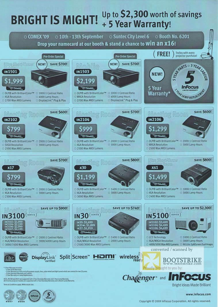 Comex 2009 price list image brochure of InFocus Projectors In1501 In1503 In2102 In2104 In2106 X17 X30 Xs1 In3100 In30 In5100