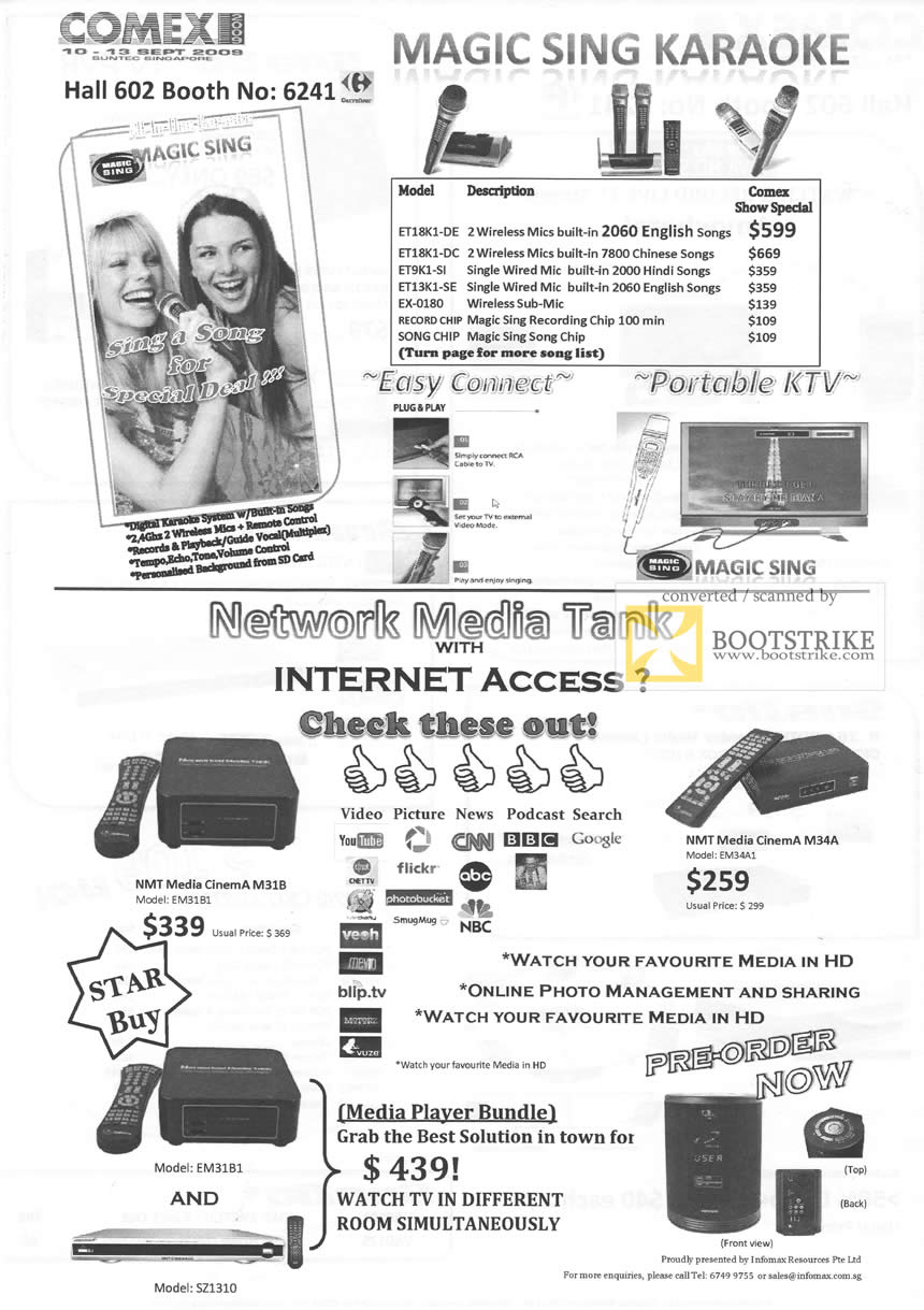 Comex 2009 price list image brochure of Infomax Magic Sing Karaoke Portable KTV Network Media Tank EM3181