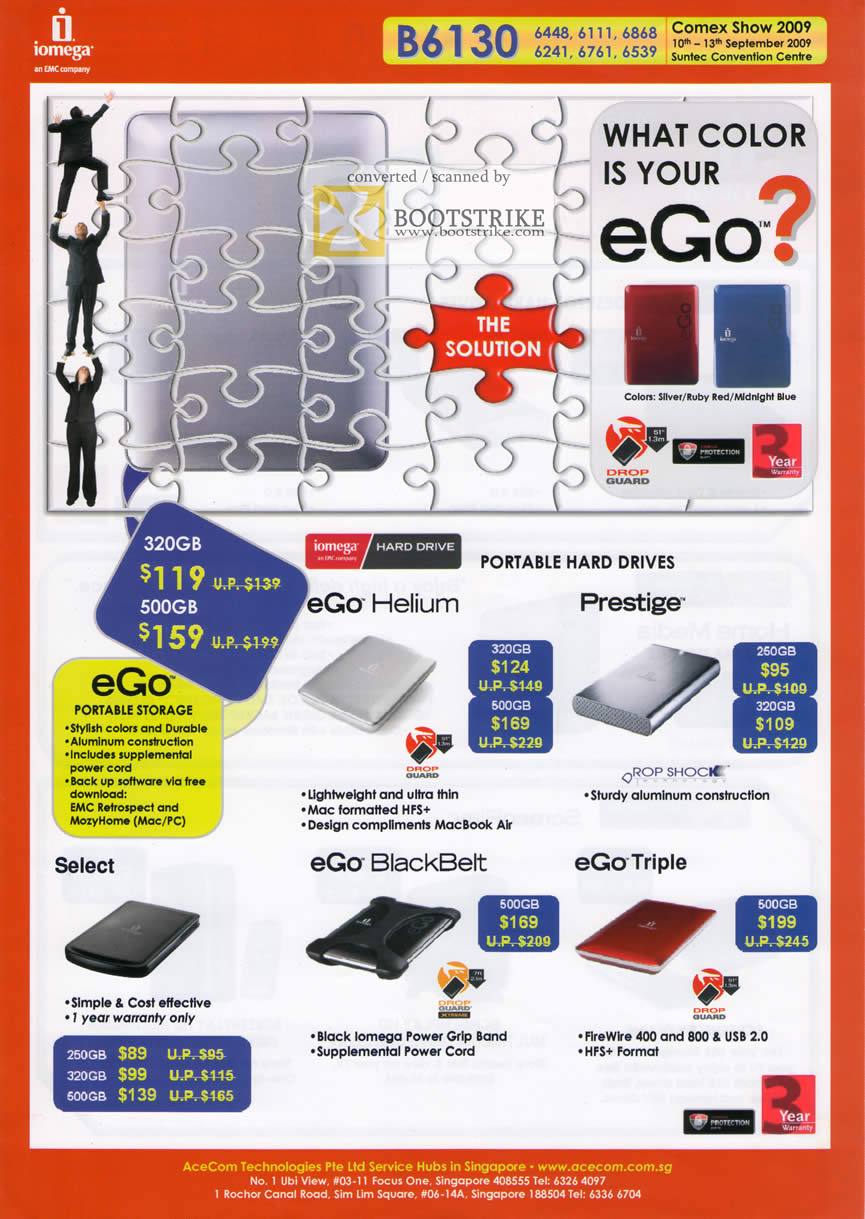 Comex 2009 price list image brochure of Iomega EGo Helium Prestige External Portable Drive BlackBelt Triple Select
