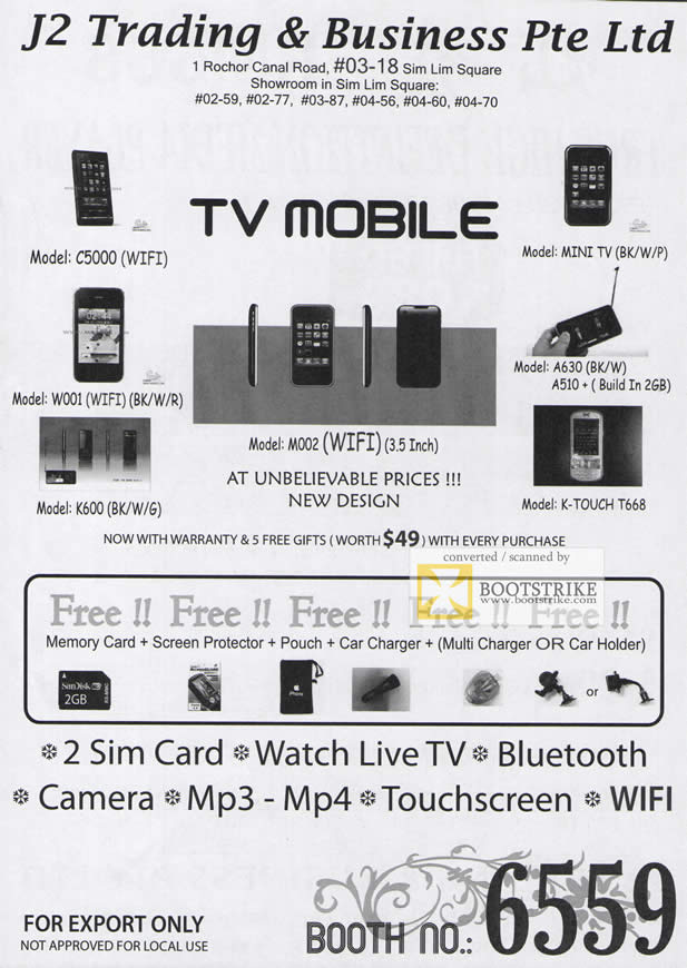 Comex 2009 price list image brochure of J2 TV Mobile C5000 Mini DV W001 K600 K Touch T668