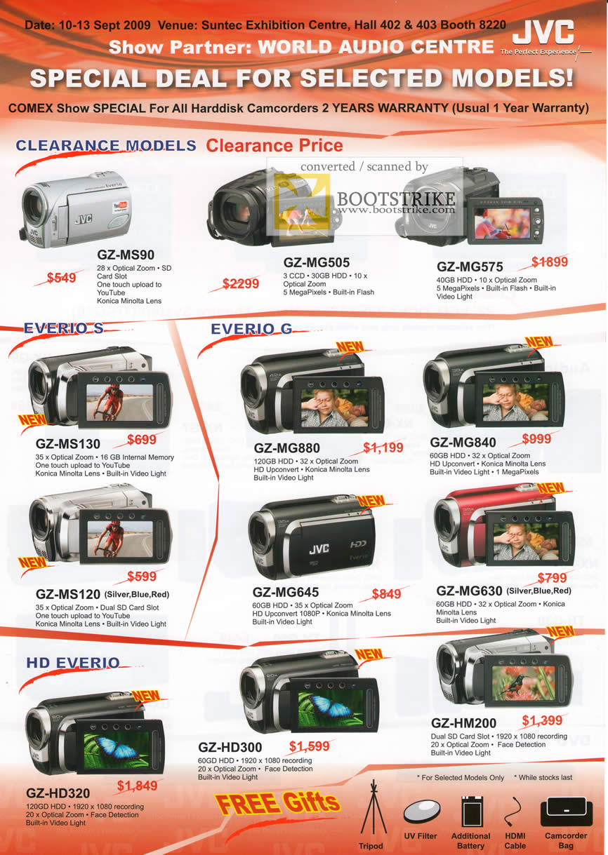 Comex 2009 price list image brochure of JVC Everio S G HD Camcorders
