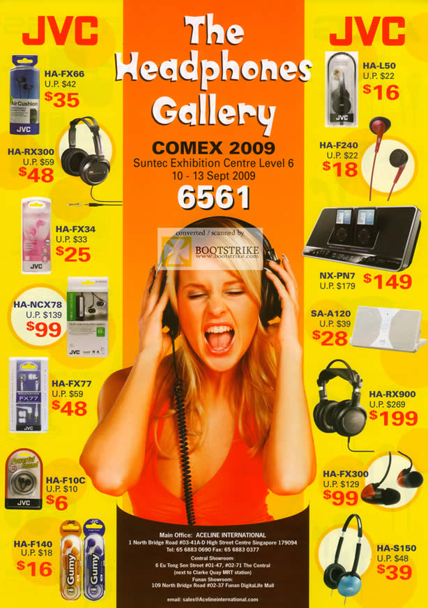 Comex 2009 price list image brochure of JVC Headphones