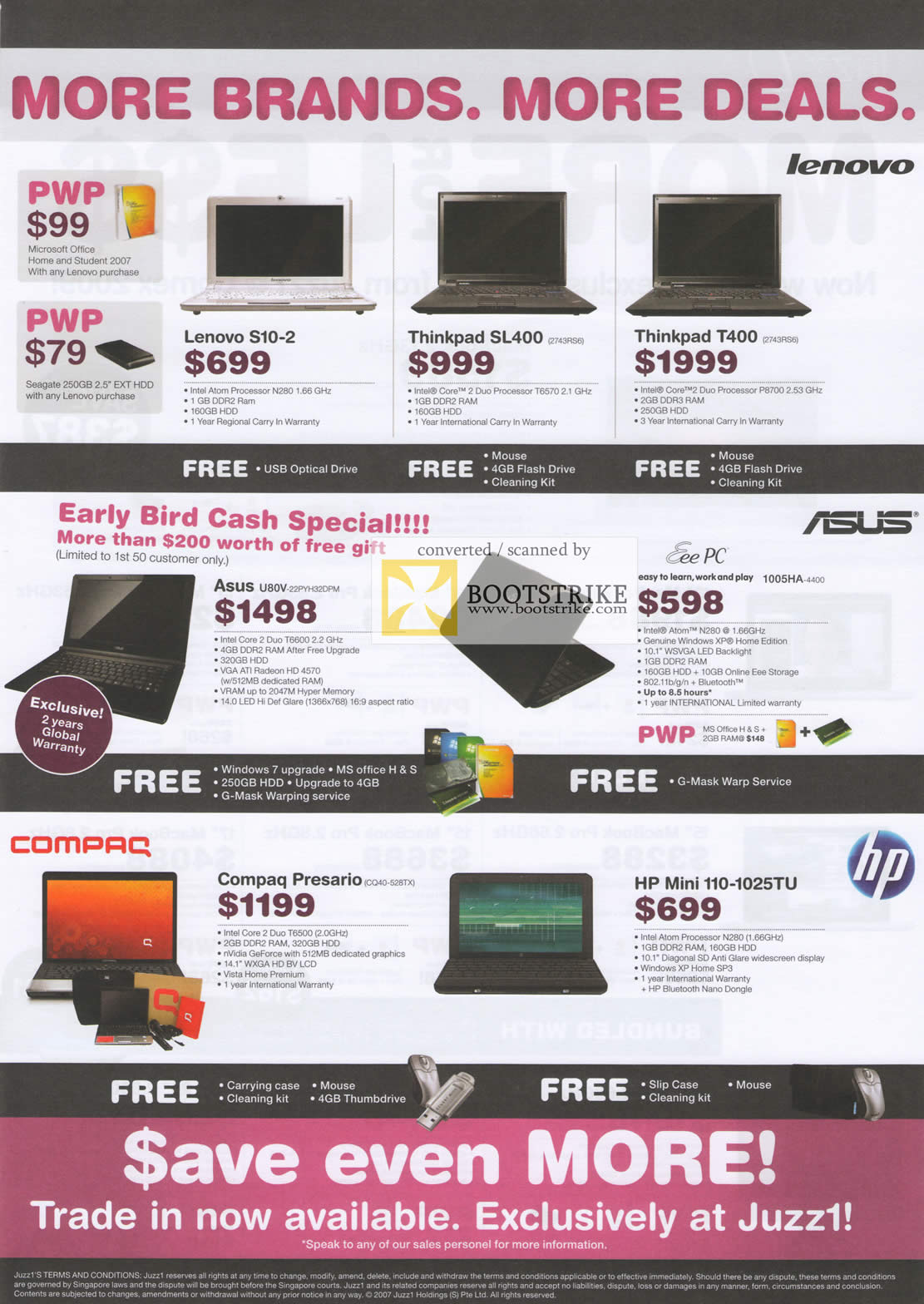 Comex 2009 price list image brochure of Juzz1 Lenovo S10 Thinkpad SL400 T400 Asus U80v 1005ha Compaq Hp Mini