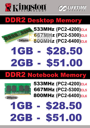 Comex 2009 price list image brochure of Kingston DDR2 B6346