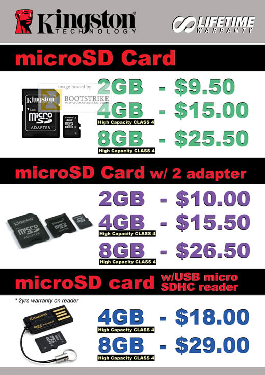 Comex 2009 price list image brochure of Kingston MicroSD Adapter Micro SDHC Reader Kingston B6346