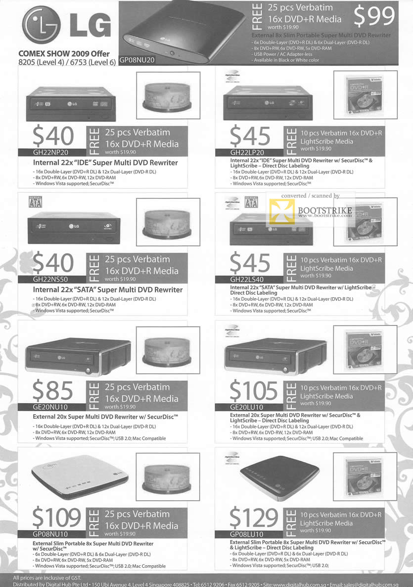 Comex 2009 price list image brochure of LG DVD Rewriter SATA IDE External Internal