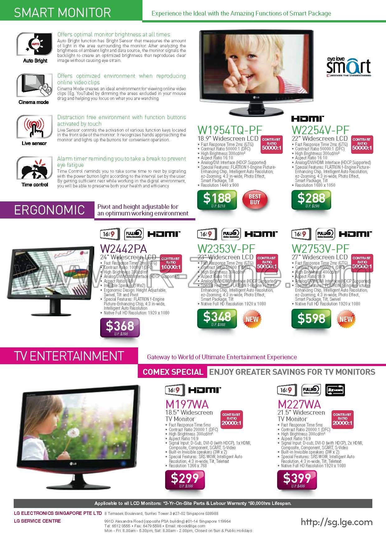 Comex 2009 price list image brochure of LG LCD Monitors TV W9154TQ W2254V W2442PA W2353V W2753V M197WA M22WA