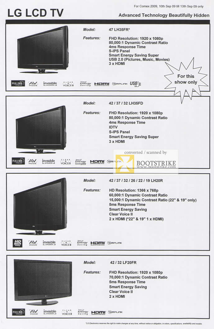 Comex 2009 price list image brochure of LG LCD TV LH35FR LH35FD LH20R LF20FR