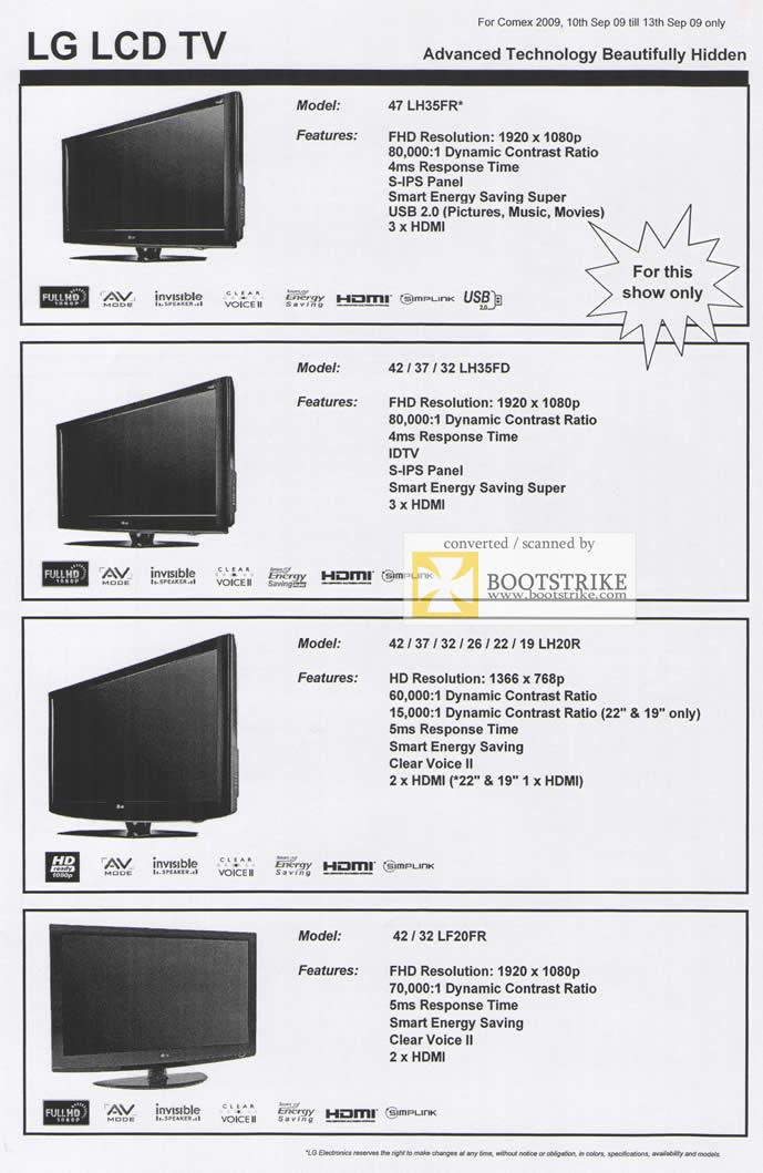 Comex 2009 price list image brochure of LG LCD TV LH35FR LH35FD LH20R LF20FR
