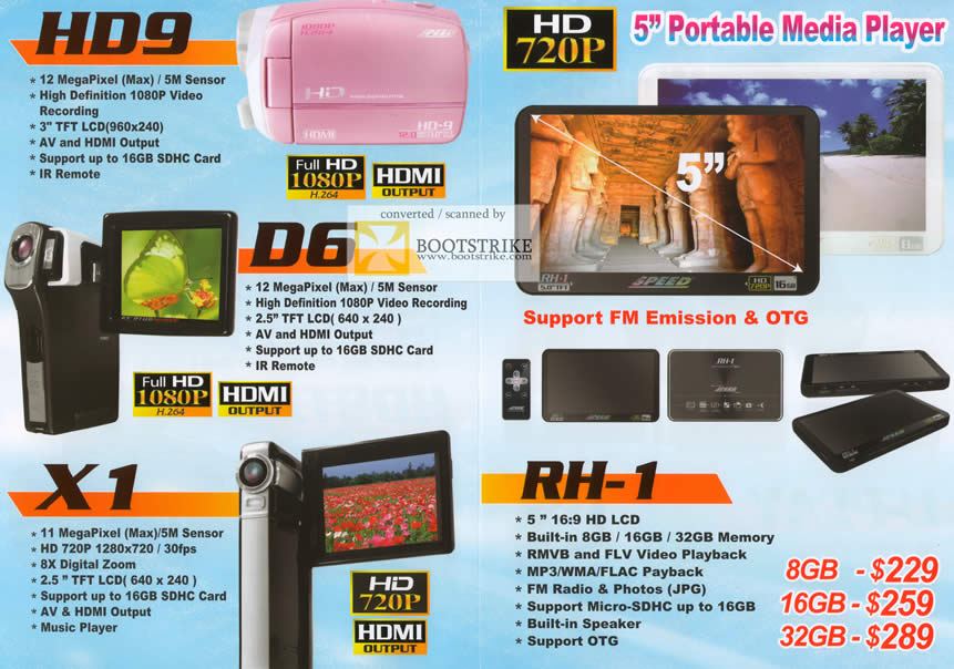 Comex 2009 price list image brochure of Lau Speed Camcorder Portable Media Player HD9 D6 X1 RH-1