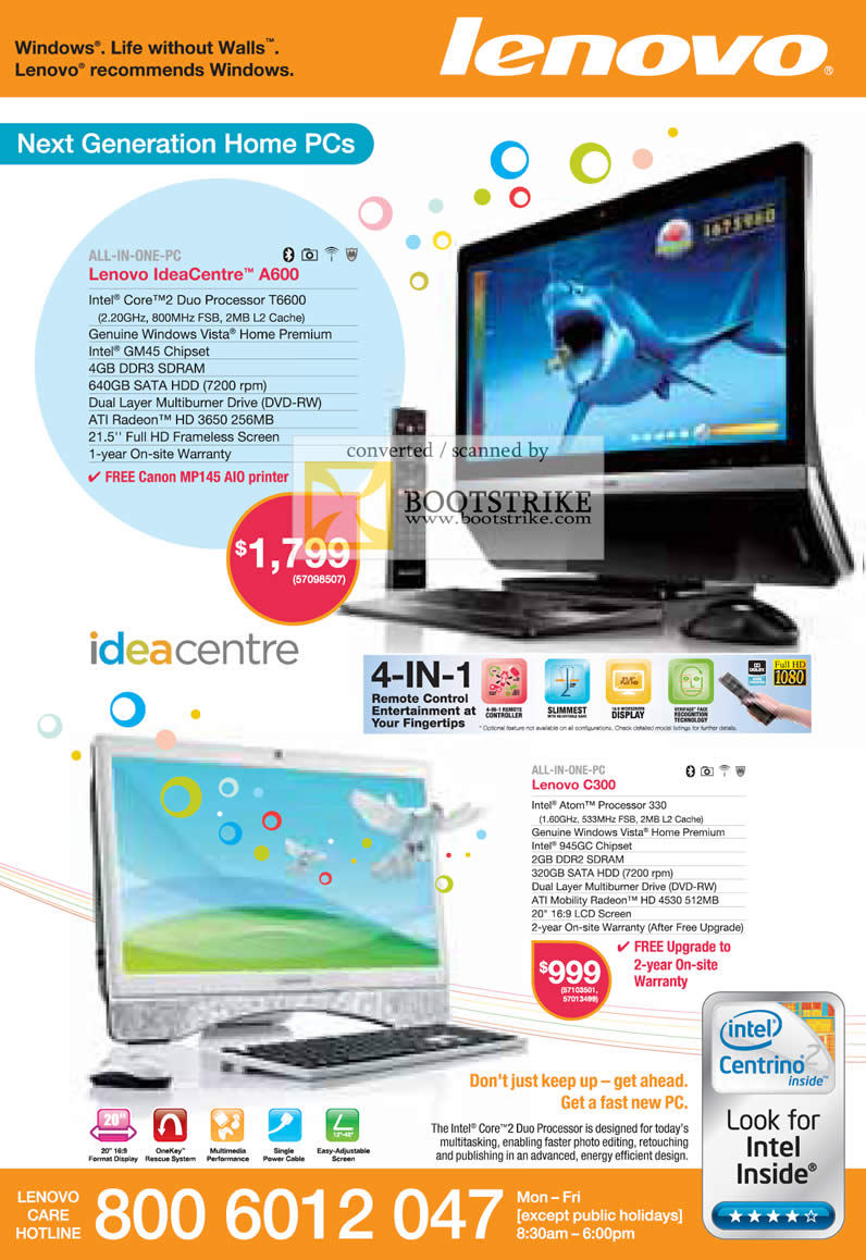 Comex 2009 price list image brochure of Lenovo Ideacentre All-In-One Desktop PC A600 C300
