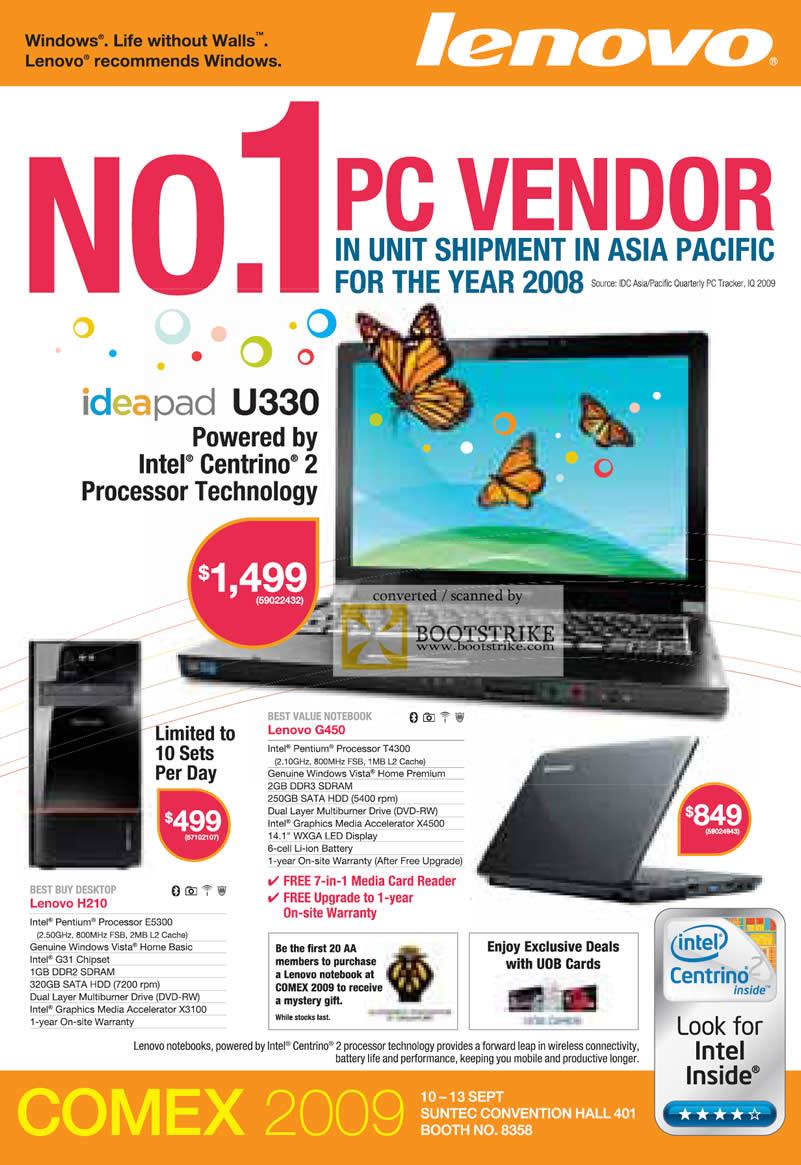 Comex 2009 price list image brochure of Lenovo Ideapad Notebook U330 G450 H210 Desktop H210