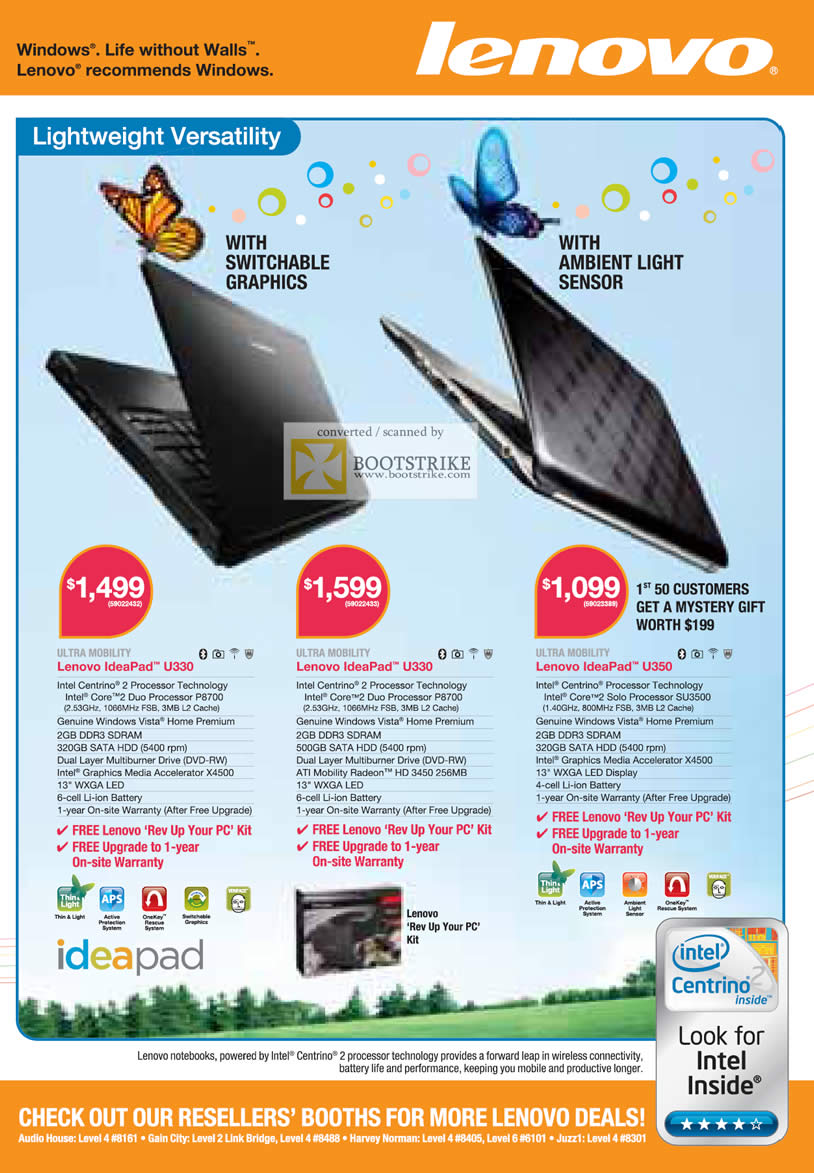 Comex 2009 price list image brochure of Lenovo Ideapad Notebooks U330 Ultra Mobility