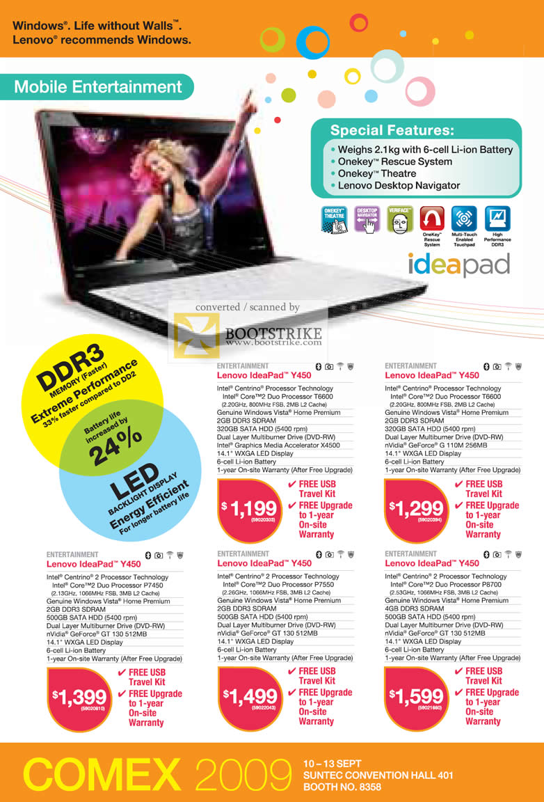 Comex 2009 price list image brochure of Lenovo Ideapad Notebooks Y450 Mobile Entertainment