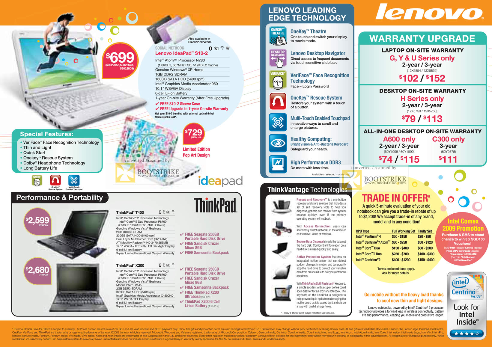 Comex 2009 price list image brochure of Lenovo Netbook Ideapad S10-2 IBM ThinkPad T400 X200 Trade-In Warranty