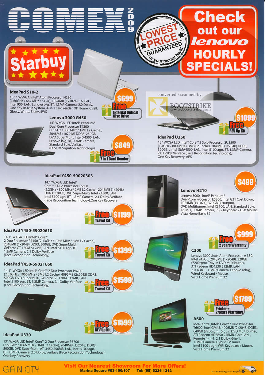 Comex 2009 price list image brochure of Lenovo Notebooks Desktops Tablets IdeaPad S10 3000 G450 U350 H210 Y450 C300 A600