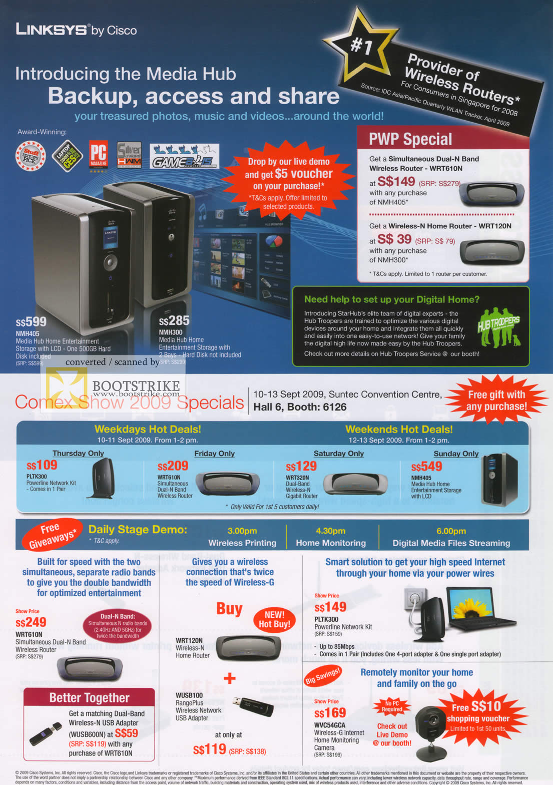 Comex 2009 price list image brochure of Linksys Media Hub Home Monitoring Camera Powerline Network
