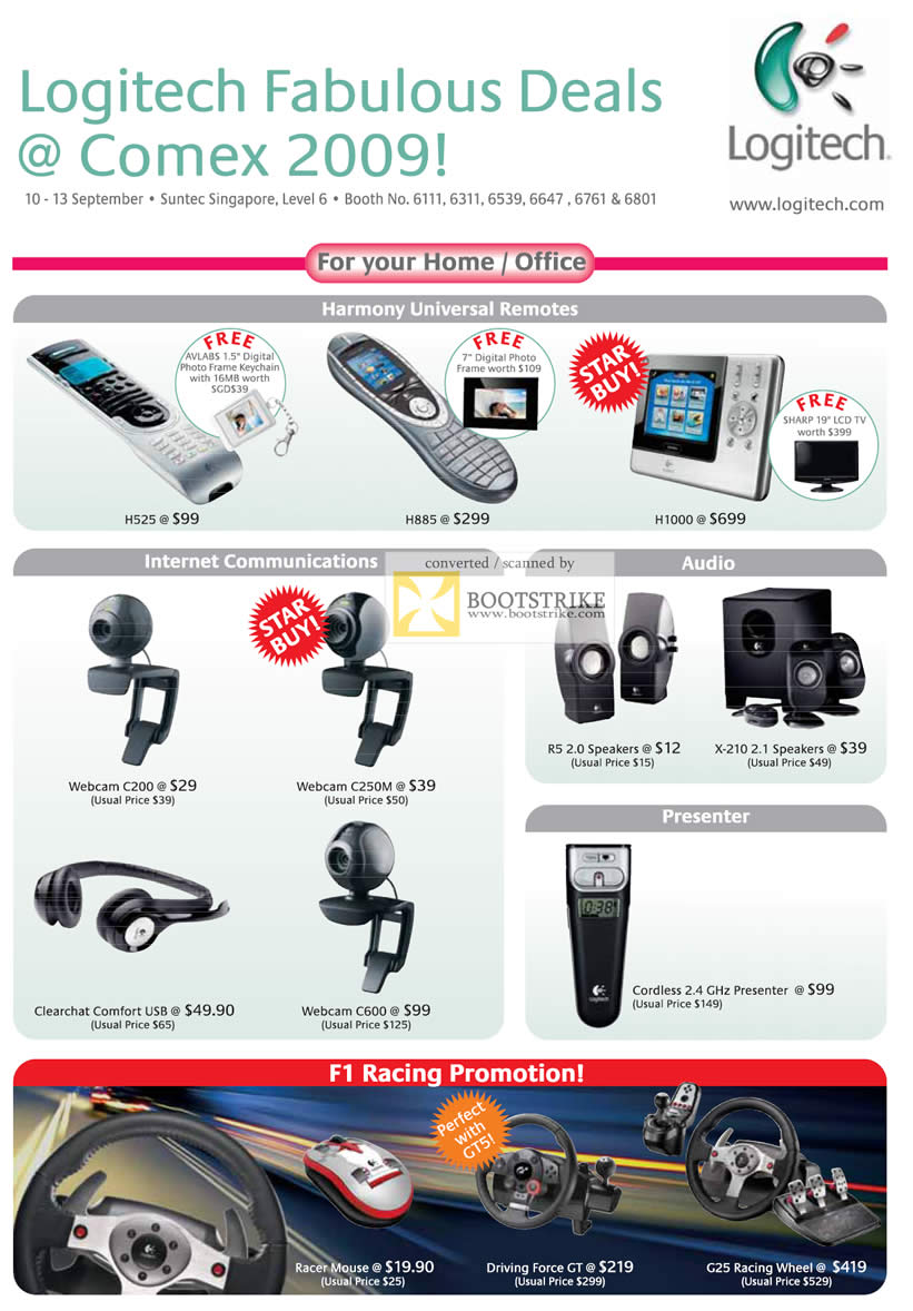 Comex 2009 price list image brochure of Logitech Harmony Remote Webcam Speakers Presenter Driving Wheel