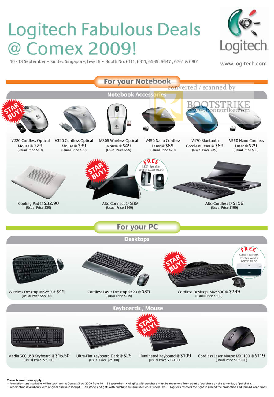 Comex 2009 price list image brochure of Logitech Notebook Mouse Cordless Bluetooth Keyboard Alto Wireless
