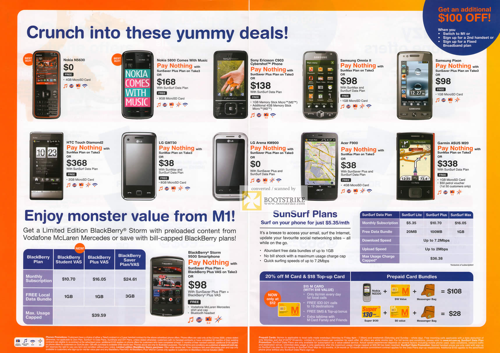 Comex 2009 price list image brochure of M1 Mobile Phone Deals Nokia Samsung Sony Ericsson Acer Garmin HTC LG
