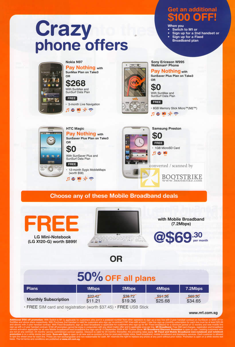 Comex 2009 price list image brochure of M1 Phones Nokia Sony HTC Samsung LG Mini Notebook Mobile Broadband LG X120-G