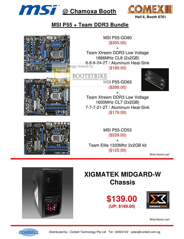 Comex 2009 price list image brochure of MSI Chamoxa Motherboard P55 Team Xtreem Elite Xigmatek Midgard Chassis